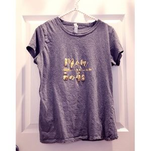 Mom Of Boys Gray Shirt with Gold Lettering